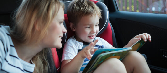 mum and toddler in a car